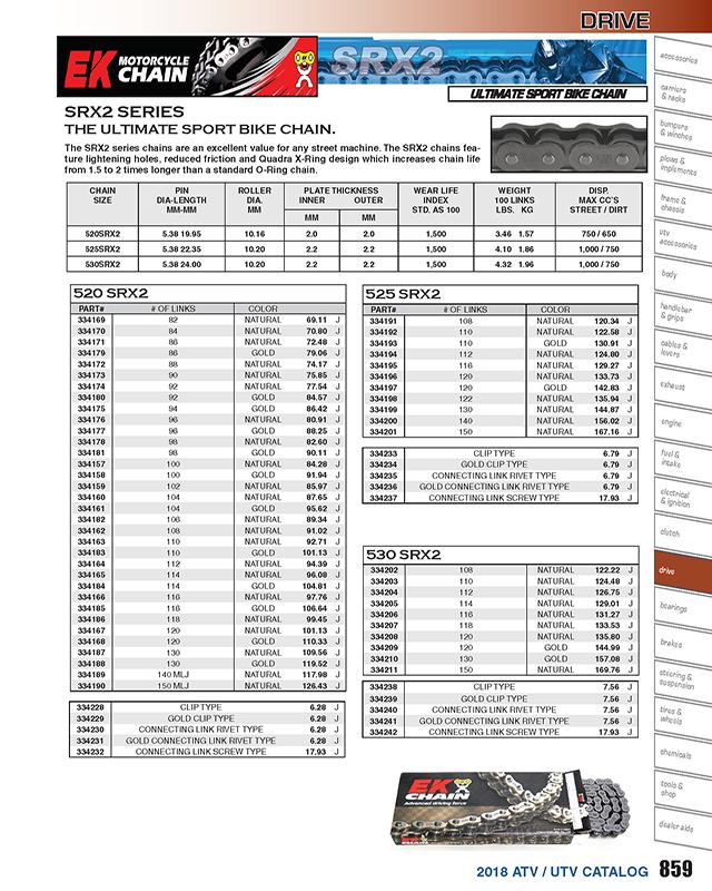 520 SRX Quadra X-Ring Chain 102 Links For 1982 Suzuki SP250~EK Chains
