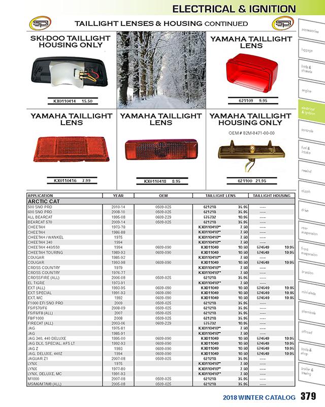 01-104-14 Taillight Housing For 1994 Ski-Doo Tundra II LT~Sports Parts Inc